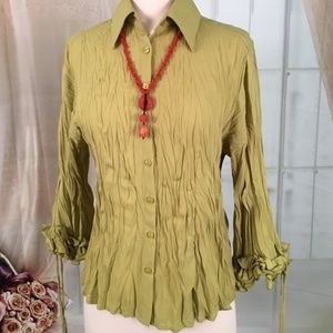 Milano Green Crinkle Long Sleeve Blouse